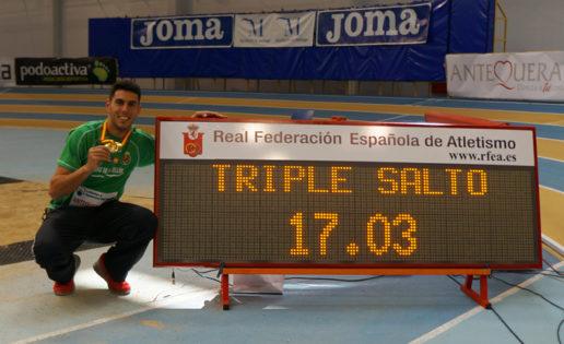Récord España en triple salto. Pablo Torrijos salta 17.03 metros