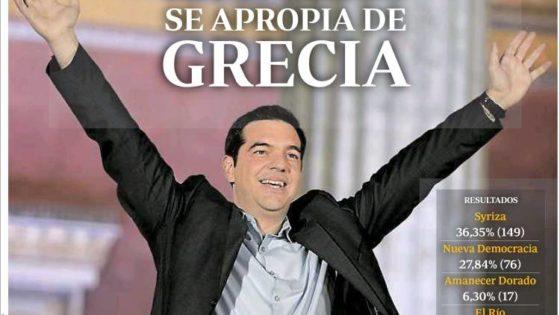 Las portadas de la víctoria de Syriza