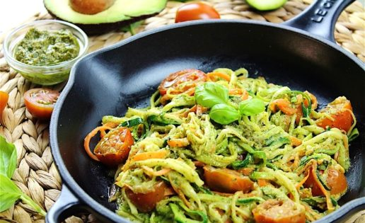 Receta espaguetis con calabacin y gambas
