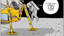 Tras un alunizaje algo apurado, Neil Armstrong bajó la escalerilla…