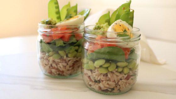 Recetas en tarros de cristal: ensalada de arroz salvaje y edamames