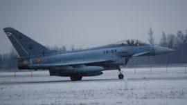 Primeras imágenes de los 4 cazas Eurofighter del Ejército en Lituania