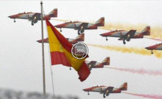 El vídeo 360° de la Patrulla Águila en el desfile del 12-O