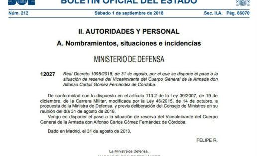 El Supremo admite el recurso del vicealmirante que el Gobierno envió a la reserva forzosamente