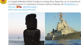 Fragata Méndez Núñez: en la isla de Pascua, morada de los moáis