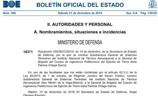 Defensa nombra a la general Ortega para un cargo de subdirectora general en el INTA