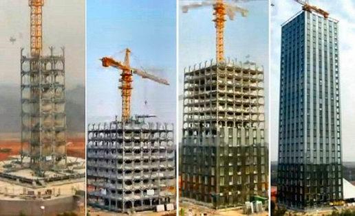 Un vídeo muestra como construyen un hotel de 30 pisos en 360 horas