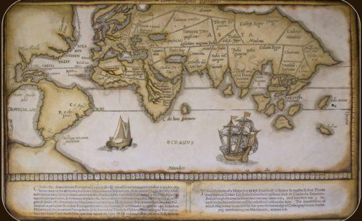 Primer mapamundi inglés. El norte y sus destinos.